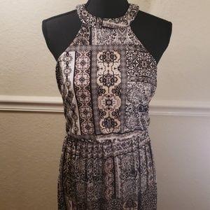 Three Pink Hearts Maxie Dress - black tan white